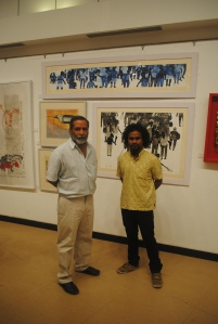 Obayya with well known sculptor G. Ravinder Reddy at Jehangir Art Gallery, Mumbai